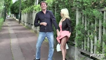 Skinny blonde loves riding on a meaty dick
