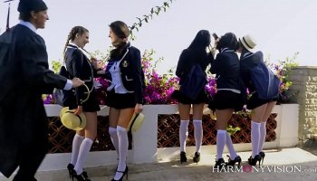 Two nasty whore gets fucked in public places and ejaculation